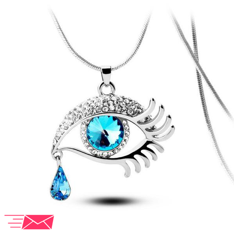 Blue Eye With Tears Silver Plated Necklace - 1