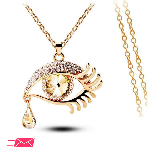 Hazel Eye With Tears Gold Plated Necklace - 1