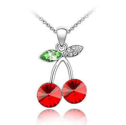 Red And Green Stones Cherry Necklace