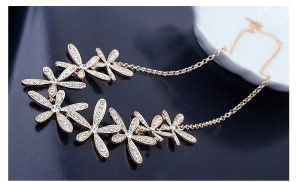 Gold Plated Flowers Necklace - 3