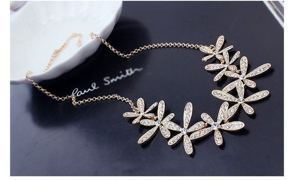 Gold Plated Flowers Necklace - 4