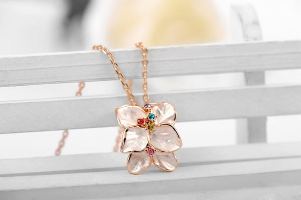 Rose Gold Plated Flower Necklace - 2