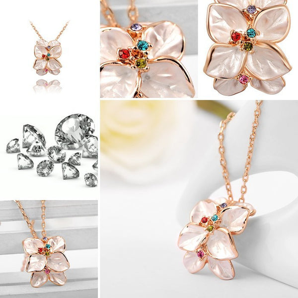 Rose Gold Plated Flower Necklace - 3