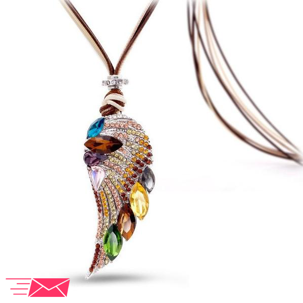 Angel Wing Long Necklace - 1