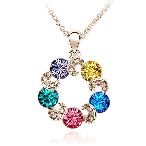 Colorful Circles Gold Plated Necklace