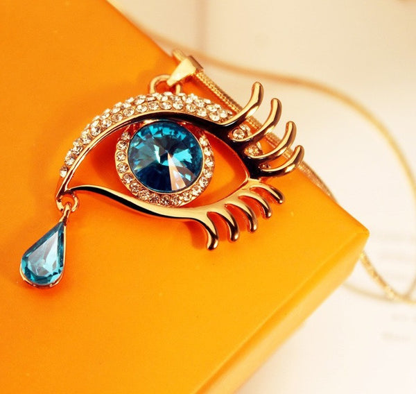 Blue Eye With Tears Rose Gold Plated Necklace - 3