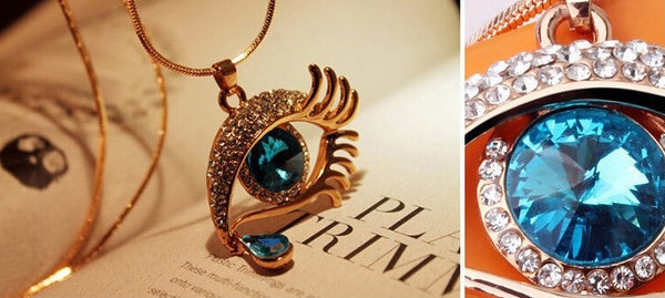 Blue Eye With Tears Rose Gold Plated Necklace - 4