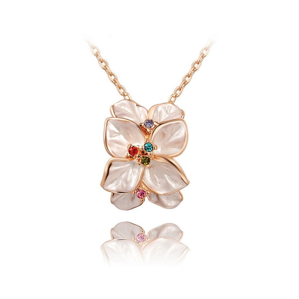 Rose Gold Plated Flower Necklace - 1