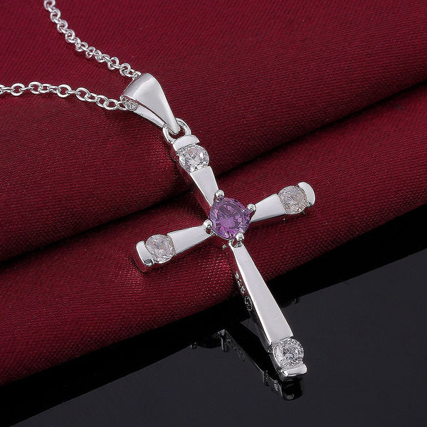 925 Silver Cross Pendant Necklace - 3