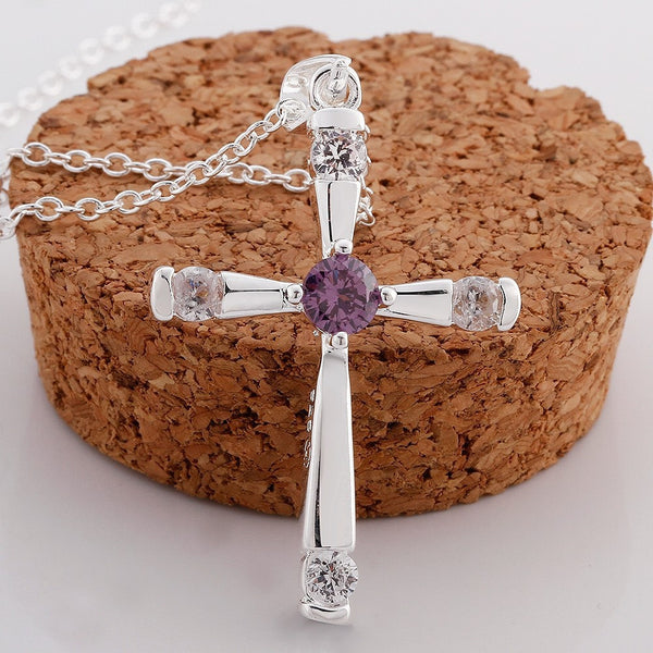 925 Silver Cross Pendant Necklace - 4