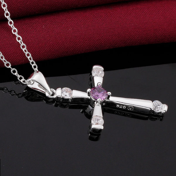 925 Silver Cross Pendant Necklace - 5
