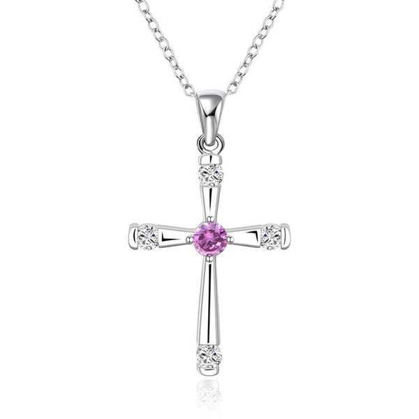 925 Silver Cross Pendant Necklace - 2
