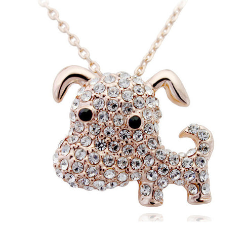 Cute Puppy Gold Plated Necklace - 1