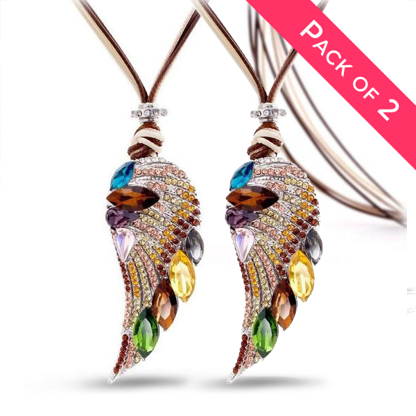 2 Pack Bundle of Angel Wing Long Necklaces - 2