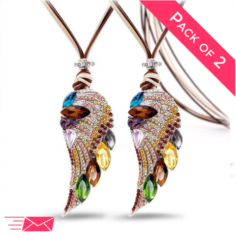 2 Pack Bundle of Angel Wing Long Necklaces - 1