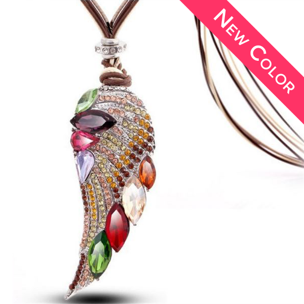 Fall Angel Wing Long Necklace - 2