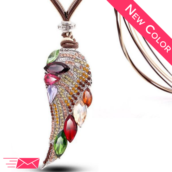 Fall Angel Wing Long Necklace - 1