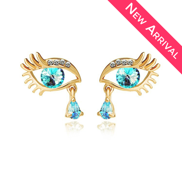 Gold Plated Blue Teardrop Eye Earrings - 2