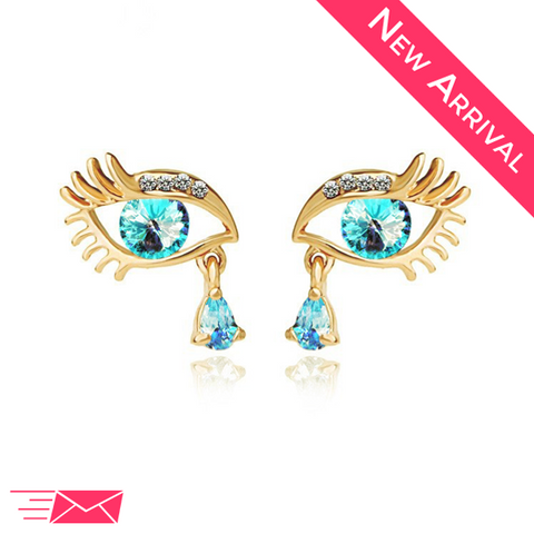 Gold Plated Blue Teardrop Eye Earrings - 1
