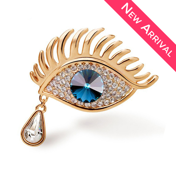 Gold Plated Blue Eye Brooch - 2