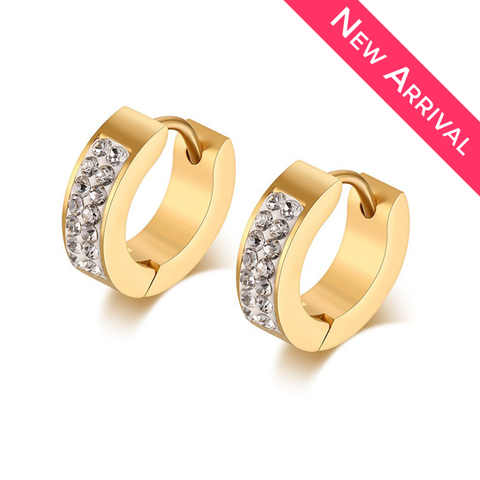 Gold Plated Stainless Steel CZ Earrings - 1