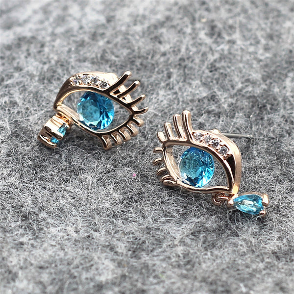 Gold Plated Blue Teardrop Eye Earrings - 4
