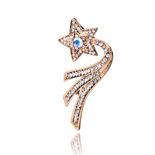 Rose Gold Plated CZ Shooting Star Brooch - 2