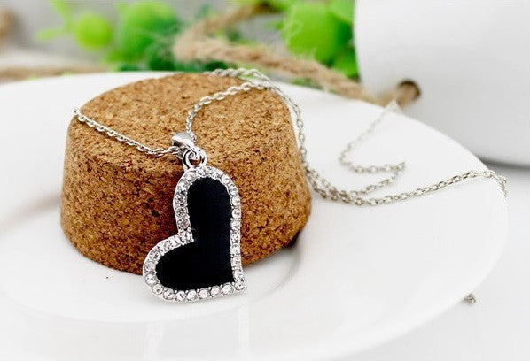 Black Heart Silver Plated Necklace - 2