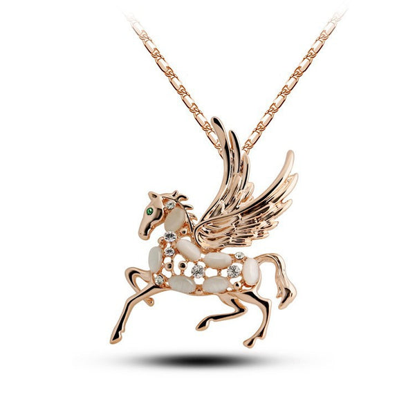 Gold Plated Winged Horse Necklace - 2