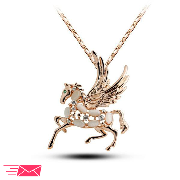 Gold Plated Winged Horse Necklace - 1