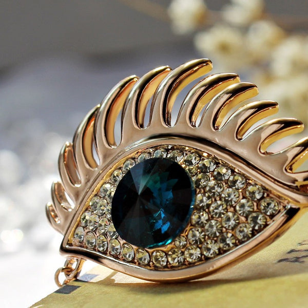 Gold Plated Blue Eye Brooch - 6