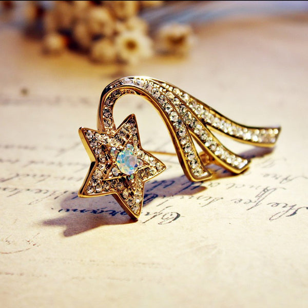 Rose Gold Plated CZ Shooting Star Brooch - 3