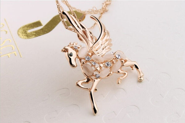 Gold Plated Winged Horse Necklace - 4