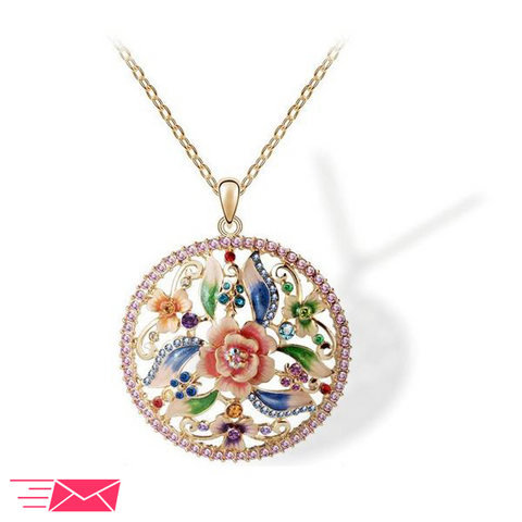Hand Painted Rose Necklace - 1