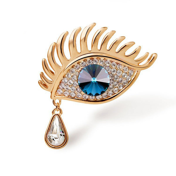 Gold Plated Blue Eye Brooch - 3
