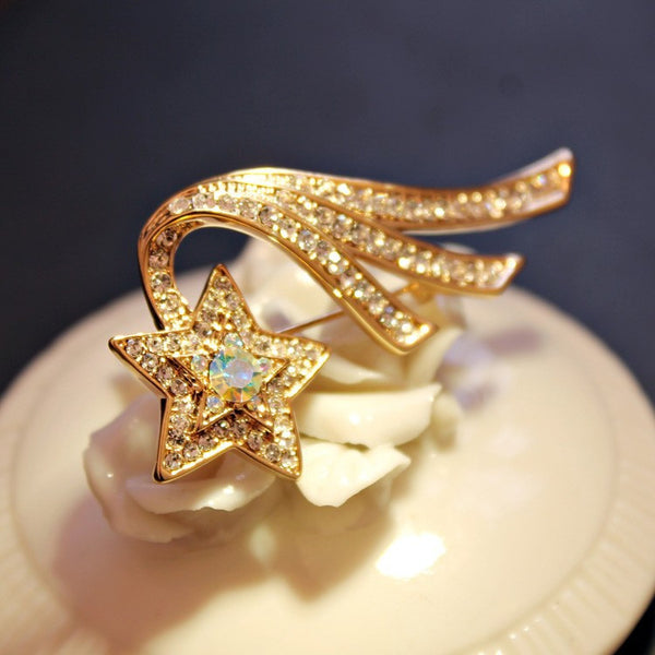 Rose Gold Plated CZ Shooting Star Brooch - 5