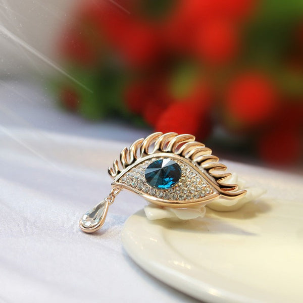 Gold Plated Blue Eye Brooch - 4