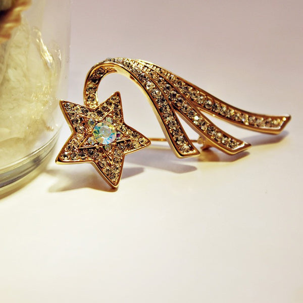 Rose Gold Plated CZ Shooting Star Brooch - 4