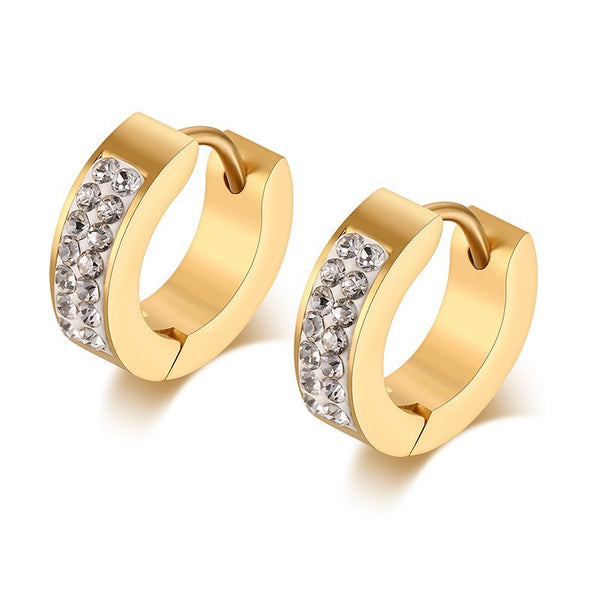 Gold Plated Stainless Steel CZ Earrings - 2