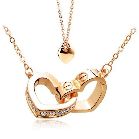 Gold Plated Connected Hearts Necklace - 1