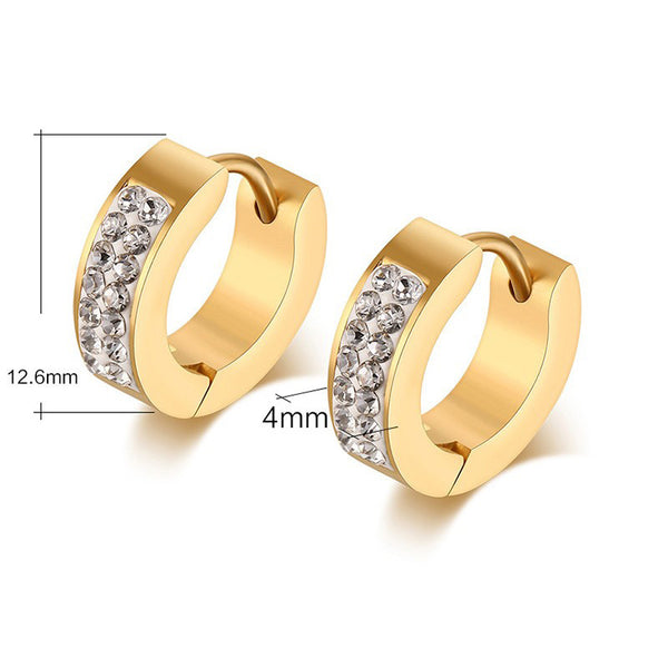 Gold Plated Stainless Steel CZ Earrings - 7