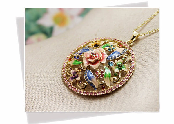 Hand Painted Rose Necklace - 4