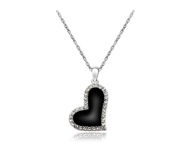 Black Heart Silver Plated Necklace - 1