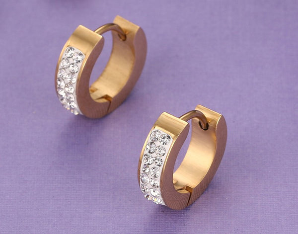 Gold Plated Stainless Steel CZ Earrings - 3