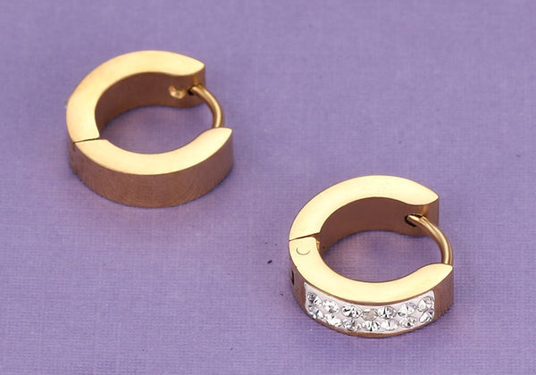 Gold Plated Stainless Steel CZ Earrings - 5