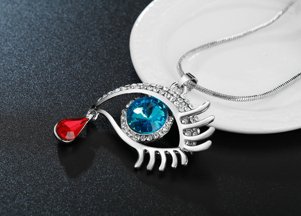 Blue Eye With Tear Of Blood Silver Plated Necklace - 3