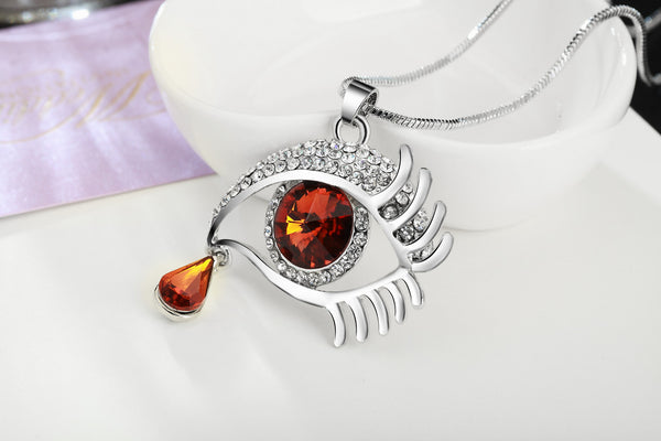 Brown Eye With Tears Silver Plated Necklace - 3