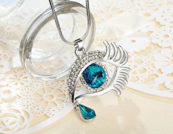 Blue Eye With Tears Silver Plated Necklace - 3