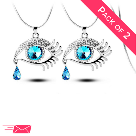 2 Pack Bundle of Blue Eye With Tears Silver Plated Necklaces - Medium - 1