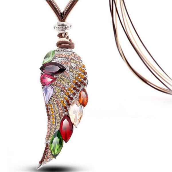 Fall Angel Wing Long Necklace - 3